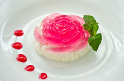 Milk jelly in a rose Stock Images