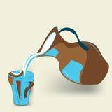 Milk jug. With decorative mug Stock Photos