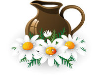 Milk jug. Jug of milk and chamomile. EPS 10 Royalty Free Stock Photography
