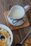 Milk jug for breakfast. cottage cheese with blueberries and cere Royalty Free Stock Photography
