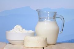 Milk jug and cheese Royalty Free Stock Image