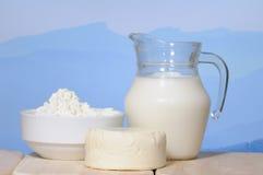Milk jug and cheese royalty free stock image