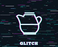 Milk jug for coffee icon. Fresh drink sign. Glitch effect. Milk jug for coffee icon. Fresh drink sign. Beverage symbol. Background with colored lines. Vector Stock Photos