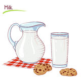 Milk in a jug and cookie. Vector illustration of milk in a jug and cookie isolated on white background. Food Icon. Design for cookbook, restaurant business royalty free illustration