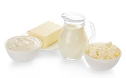 Milk in a jug, cottage cheese, sour cream and. The butter isolated on white Royalty Free Stock Photography