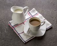 20130905-024. A milk jug and a cup of coffee with milk royalty free stock photography