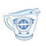 Milk jug faience part of porcelain vector. Illustration without gradients Stock Photo