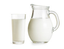 Milk jug and glass. On white background Royalty Free Stock Image