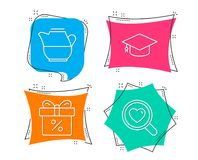 Milk jug, Graduation cap and Discount offer icons. Search love sign. Fresh drink, University, Gift box. Set of Milk jug, Graduation cap and Discount offer icons royalty free illustration