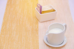 milk in jug for hot coffee or healthy drinks Royalty Free Stock Photos