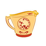 Milk jug part of porcelain whit red flowers. Vector illustration without gradients Royalty Free Stock Images