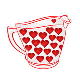 Milk jug with red hearts vector Stock Photo