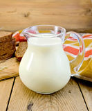 Milk in a jug with rye bread and red napkin Royalty Free Stock Image