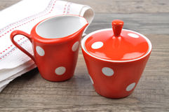 Milk jug and sugar bowl Stock Image