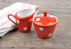 Milk jug and sugar bowl Stock Images
