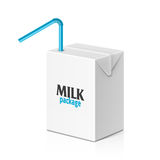 Milk or juice box with drinking straw Stock Photo