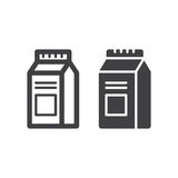 Milk Or Juice Carton Box Pack line and solid icon. Outline and filled vector sign, linear and full pictogram isolated on white. Symbol, logo illustration Royalty Free Stock Images