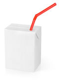 Milk or juice carton packag with red straw Stock Photography