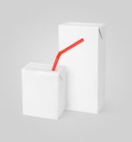 Milk or juice carton packages. Group of different milk or juice carton packages with red straw on gray background with clipping path Stock Photo