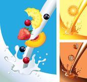 Milk and juice splashes with fruits in  Stock Photo