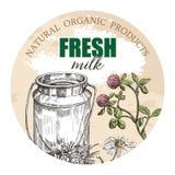 Milk kan och vildblommor Rund bakgrund för designen av jordbruksprodukter royaltyfri illustrationer