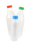 Milk, kefir, yogurt. Plastic bottles with dairy products: milk, kefir, yogurt. Isolated on white background royalty free stock photos