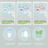 Milk,  label, background packaging design Royalty Free Stock Photos