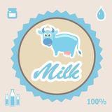 Milk Label with cow - vector illustration Royalty Free Stock Photo