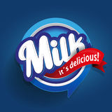 Milk label lettering - vector Stock Image
