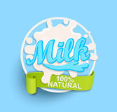 Milk label splash. Natural. Royalty Free Stock Photos