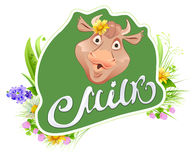 Milk label template for packing. Cow head and meadow grass. Milk lettering text Stock Images