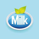 Milk label vector blue Royalty Free Stock Photo