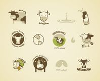 Milk Labels, elements and icons Stock Photography