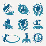 Milk labels and icons set. Vector royalty free illustration