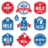 Milk labels Stock Photos