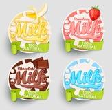 Milk labels splash. Royalty Free Stock Photography