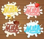 Milk labels splash on wood background. Stock Image
