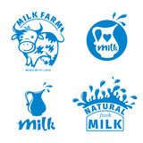 Milk labels Royalty Free Stock Images