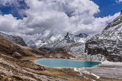 Milk lake. In the snow mountains Royalty Free Stock Photography