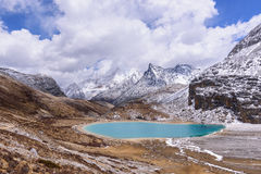Milk lake on the snow mountains with clouds and sky in Yading. Milk lake on the snow mountains with clouds and sky in Yading, China Royalty Free Stock Photos