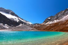 Milk lake at Yading Nature Reserve in Daocheng County ,China Royalty Free Stock Photo