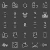 Milk line icons Stock Photography
