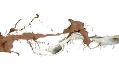 Milk and Liquid Chocolate Splash. Liquid Milk and White Chocolate splash together in an abstract isolated on white background Royalty Free Stock Photography