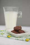 Milk and little chocolate donuts. Glass of milk with little chocolate donuts, snack over white and green tablecloth Stock Photos