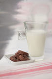 Milk and little chocolate donuts. Glass of milk with little chocolate donuts, snack over white and pink tablecloth Stock Image