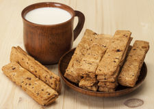 Milk and loaves . Royalty Free Stock Photography