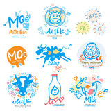Milk logo. Icon for Milk products, agriculture, shopping, dairy bar. Royalty Free Stock Image