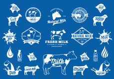 Milk Logo, Icons and Design Elements Royalty Free Stock Photo
