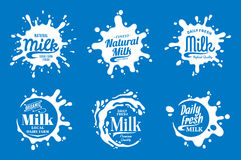 Milk Logo. Milk, Yogurt or Cream Splashes Stock Photo