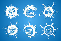 Milk Logo. Milk, Yogurt or Cream Splashes Royalty Free Stock Photo